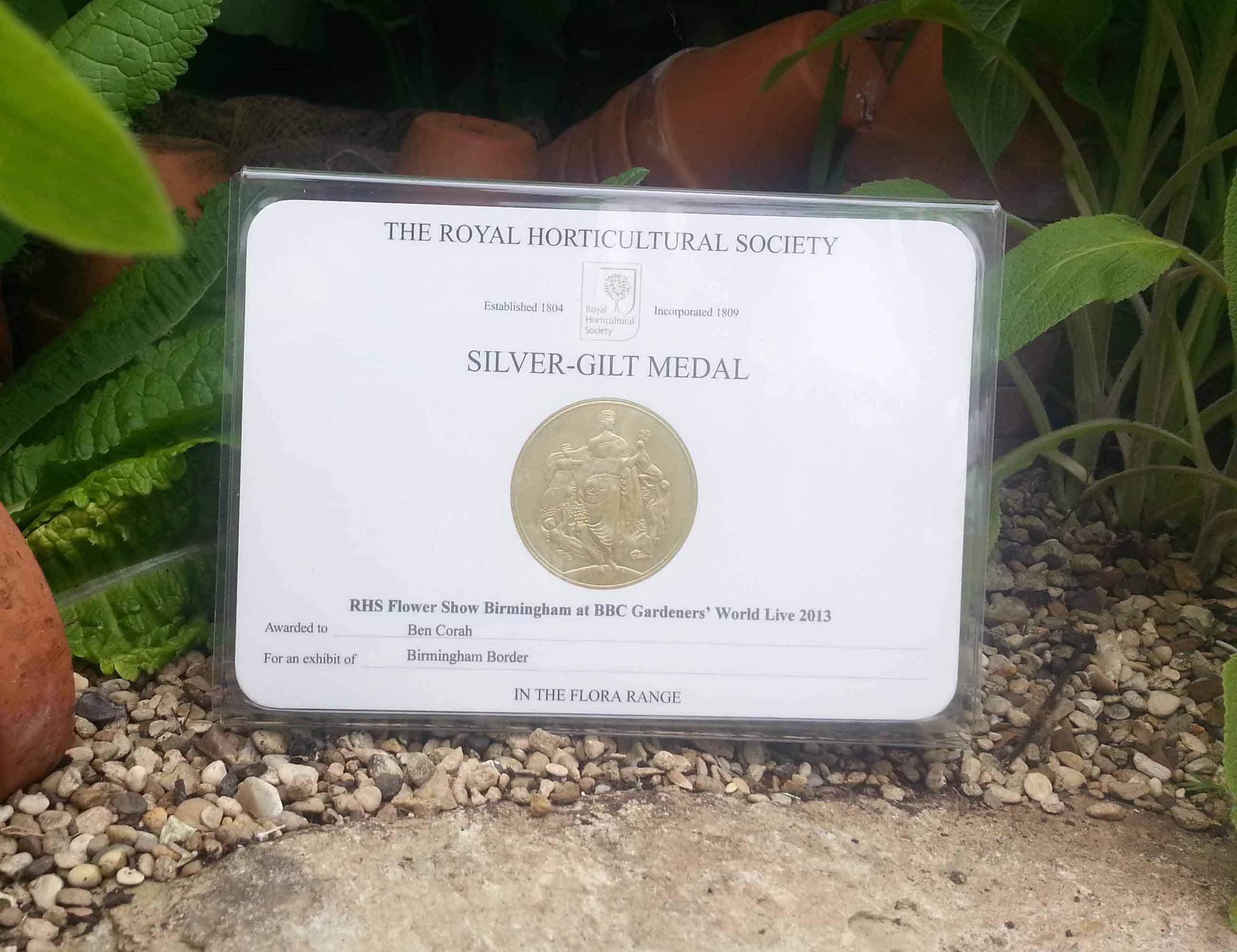 rhs silver gilt medal 2013