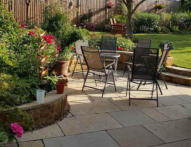 Limestone patio in summer